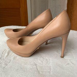 Prada Milano Nude Leather Platform Stiletto Heels
